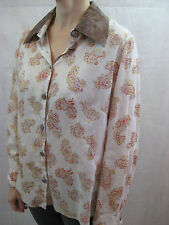 Nicola Waite Size 2 or 12 Cream Red Paisley Cotton Button Shirt Blouse