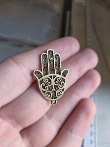 10 x hamsa hand bronze tone charm Pendant UK (K5) 35x24mm turkish
