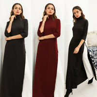 Women Solid Turtle Neck 3/4 Sleeve Side Slit Long Maxi Dress Stretch Cocktail