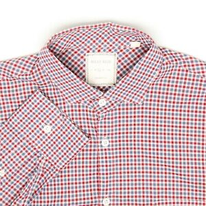 Billy Reid Mens Shirt L Standard Cut Red White Blue Check Cotton Button Front
