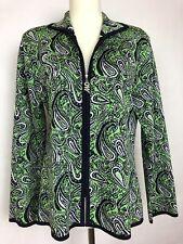 Exclusively Misook Petite Woman's Green Paisley Zip up cardigan Jacket Top SZ S
