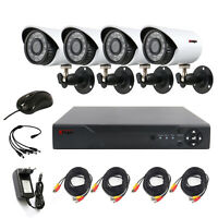 4CH CCTV Security Camera System HDMI HD 720P Outdoor Video Surveillance DVR Kit