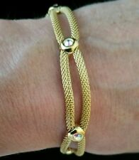 Armband Mesh 21cm Messing Gelbvergoldet Kristalle Magnetverschluss