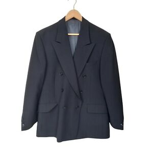 Credentials By Stafford Ellinson Mens Sz L Navy Blue Wool Blend Blazer Jacket