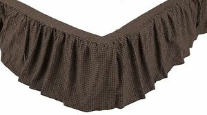 Black and Tan Country Check Gathered Bed Skirt Platform Dust Ruffle Kettle Grove
