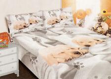 Completo letto matrimoniale cani labrador lenzuolo federe cotone 2 piazze