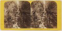 Francia Chamonix Gorges Da La Diosaz, Foto Tairraz Stereo Vintage Albumina C1865