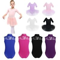 UK Girls Turtle Neck Lace Ballet Gymnastics Leotard Kid Dance Tutu Dress Costume