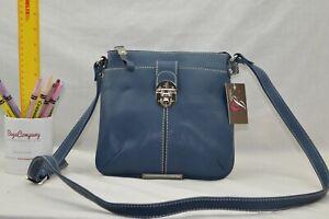 FAUX LEATHER - NEW Jane Shilton Designer X Body Shoulderbag - BLUE - reduced