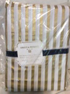 Pottery Barn Teen Emily & Meritt Metallic Skinny Stripe Twin Sheets White & Gold
