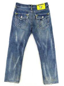 True Religion Ricky Super T 36x34 USA MADE Blue Jeans Classic Denim Heavy Stitch