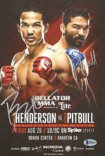 Benson Henderson Patricio Pitbull Freire Bellator 160 Lineup Card Signed BAS COA