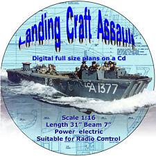 "Digital full size plans on Cd Build a Scale 1:16 Landing Craft Assault  L 31"""