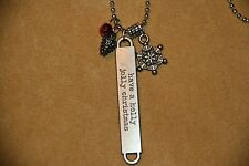 """HANDMADE SILVER METAL TAG NECKLACE """"HAVE A HOLLY JOLLY CHRISTMAS"""" W/ SNOWFLAKE"""