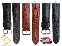 Genuine Hornback Crocodile Alligator Skin Leather Watch Strap Band 18mm-24mm U