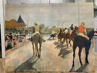 Jockeys in front of the grandstand by Edgar Degas 1940 Print on Cardboard 18X24