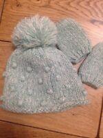 Next Baby Girls Pompom Hat With Mittens 3-6 Months VGC