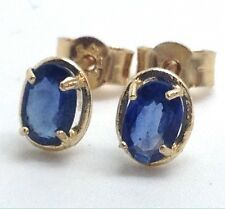 Solid 9ct Gold Sapphire Gemstone Oval Stud Earrings, New, Actual Ones. Gift Box.
