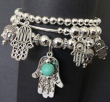 Trio Of BUDDHA Heads And HAMSA HANDS charm stretch bracelet boho Bijoux Festival