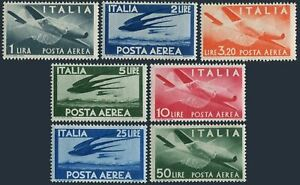 Italy C106-C111,C113,hinged. Air Post 1945-1946.Plane,Swallows in flight.
