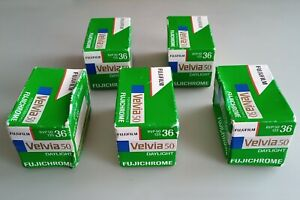 Fuji 35mm Velvia 50 colour slide film x5 ( out of date )
