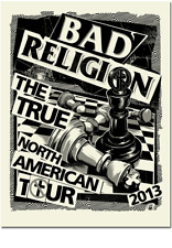 2013 BAD RELIGION TRUE NORTH AMERICAN TOUR CHESS CONCERT POSTER #/100 MUSINK S/N