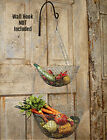 New Primitive Country Farmhouse WIRE FRUIT VEGETABLE HANGING BASKET Gray Metal