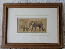 Artist Signed Nord Wooden Framed Mom Elephant & Baby Picture Print?