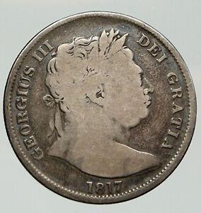 1817 UK Great Britain United Kingdom KING GEORGE III Silver 1/2Crown Coin i92011