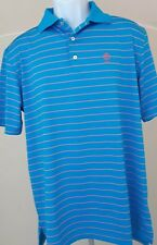 NWT Peter Millar Polo Shirt Mens Medium Blue & Red Stripes $95.00, sale