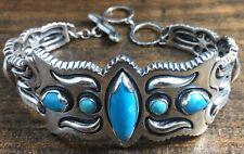 Signed Carolyn Pollack sterling silver bracelet w/sleeping beauty turquoise
