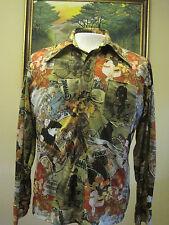 70s Disco Mens Long sleeve shirt 1800s Victorian Bicycles photo print RARE! mint