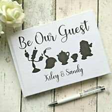 PERSONALISED WEDDING GUEST BOOK ~BE OUR GUEST DISNEY BEAUTY AND THE BEAST A5/A4