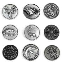 Game of Thrones House Logo Pins Targaryen Stark Lannister Badge Brooches