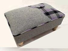 Grey Check Tartan Stag (44) Soft Woven Tweed Wool Fabric Footstool Pouffe Stool