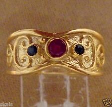 Etruscan Style Ruby Sapphire Round Silver 925 (24k Vermeil) Lady's Ring skaisN14