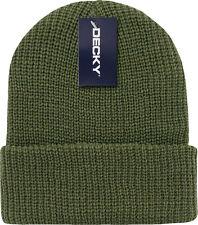 Army Green Ribbed Watch Cap Beanie Knit Winter Hat  Stretch Snowmobile Ski Decky