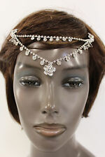 New Women Silver Head Metal Chains Flower Beads Fashion Hair Pin Clips Forehead