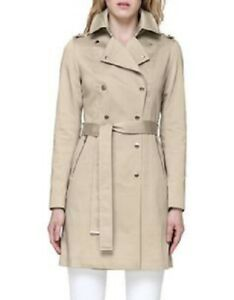 SOIA & KYO Tahlia Womens Double-Breasted Belted Trench Coat in Oatmeal, Small