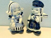 Vintage Delfts Hand Painted Blue and White Dutch Boy and Girl Figurines Holland