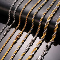 Man Necklace Chain Twist Rope Curb Link Stainless Steel 20/22/24inch Gold Silver