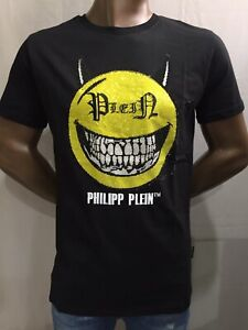 Philipp Plein men's t-shirt  round neck ss Evil Smile S Black