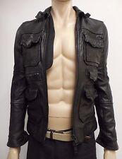 Great Men's Leather Biker Jacket By All Saints Spitalfields Black XS Chest 34''