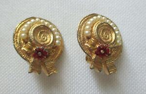 Vintage Ciner Sun Bonnet Clip Gold Tone Earrings Faux Pearls and Enamel