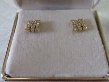 "Initial post earrings - ""M"" - crystal"