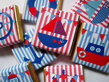 Personalised Chocolates NAUTICAL cute themed party favour  birthday pack of 25