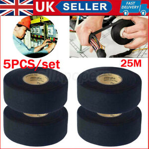 5x Harness Tape 25m Wiring Loom Insulation Adhesive Cloth Fabric Electric Tape