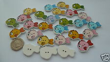 Cute Fish wooden buttons x 20.  sewing, scrapbooking. UK SELLER. FREE P&P