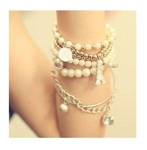 Xmas Bangle set 6 pieces bracelet pearl Eiffel tower star coin chain charms bead