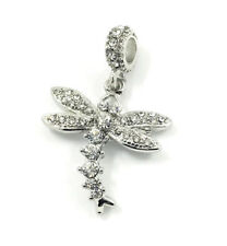 Dragonfly European Silver Pendant CZ Charm Beads Fit Necklace Bracelet Fashion &